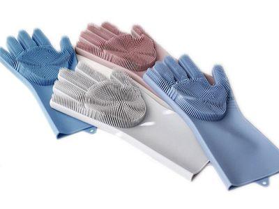 韓版加厚多功能二合一硅膠手套刷(1雙入)