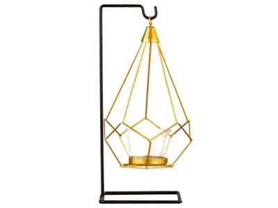 北歐風簡約幾何金屬燭台擺飾1入(單瓶款)