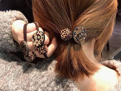 豹紋方塊圓盤時尚彈力髮繩(1入)