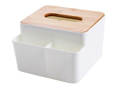 竹木蓋紙巾盒/小物收納盒(1入) 顏色隨機