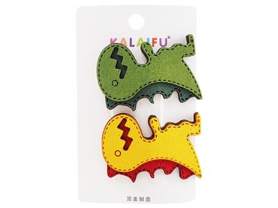Dadaisun~KALAIFU皮藝恐龍BB夾(#133綠黃)2入