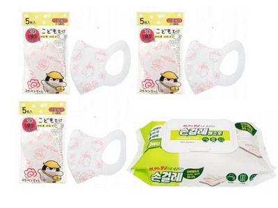 正能量企鵝~幼童彈性布耳帶立體口罩(白粉)5入(3包)+Taekwang~抗菌濕紙巾(80抽) 組合款