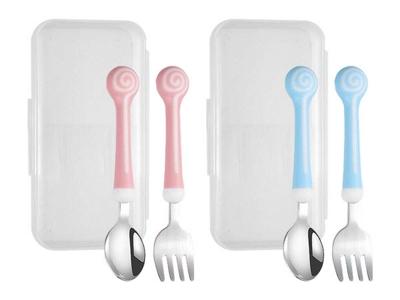 SkinApple~不鏽鋼棒棒糖兒童餐具組(不鏽鋼叉子+不鏽鋼湯匙+收納盒) 款式可選